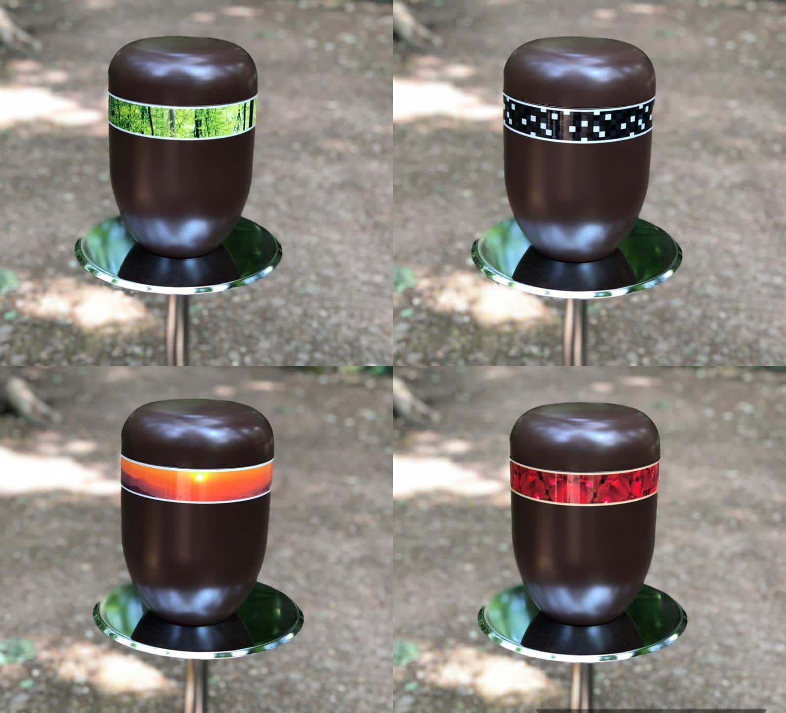 Bio Urnen mit Banderole 4 Abel Bestattungen